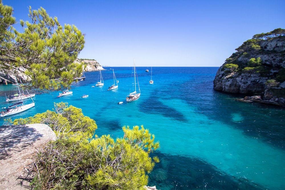 The crystal clear waters of the Menorca