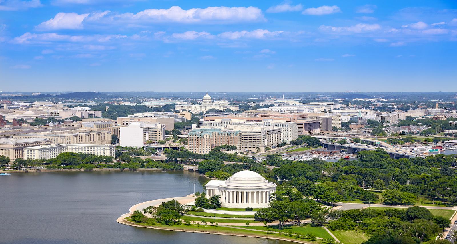 Washington DC aerial view with Thomas Jefferson Memorial building